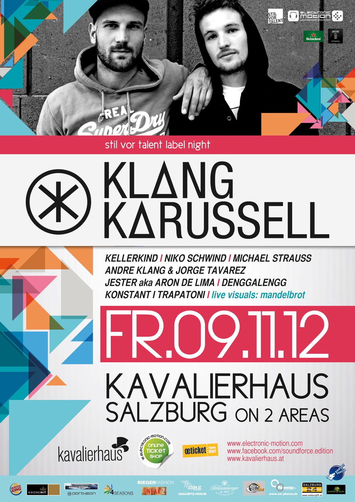 """""""STIL VOR TALENT"""" LABEL NIGHT — featuring KLANGKARUSSELL, 09.11.2012 @ KAVALIERHAUS Klessheim, Salzburg"""