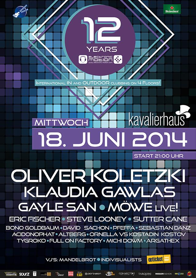 12 YEARS OF ELECTRONIC MOTION, 18.06.2014 @ Kavalierhaus Salzburg/Klessheim